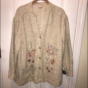 J Jill linen blend embroidered jacket large petite